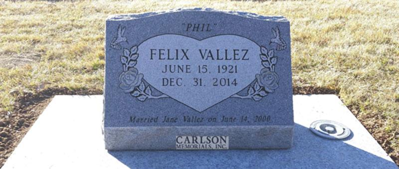 S088: Bluestone Custom Designed Slant Headstone for the Valez Family