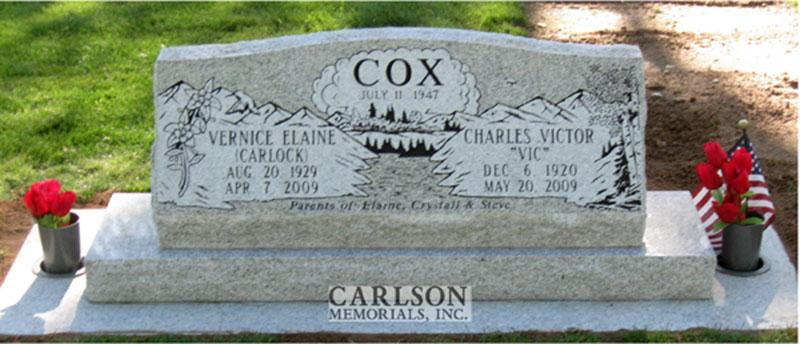 S089: Sierra White Custom Designed Slant Headstone for the Cox Family