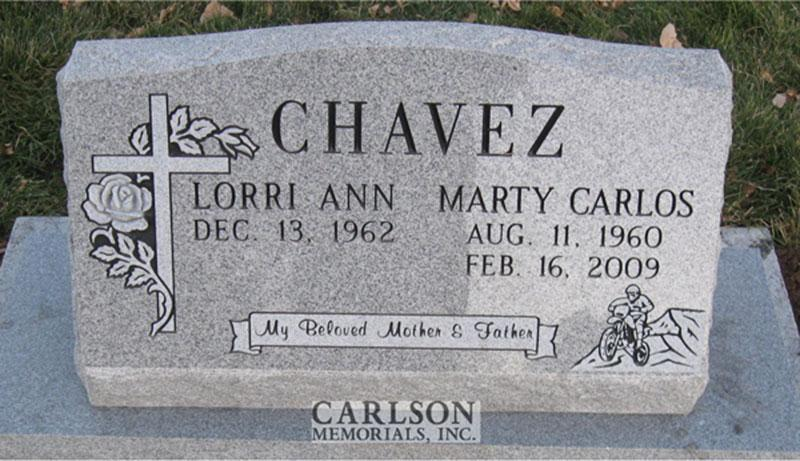 S090: Bluestone Custom Designed Slant Headstone for the Chavez Family