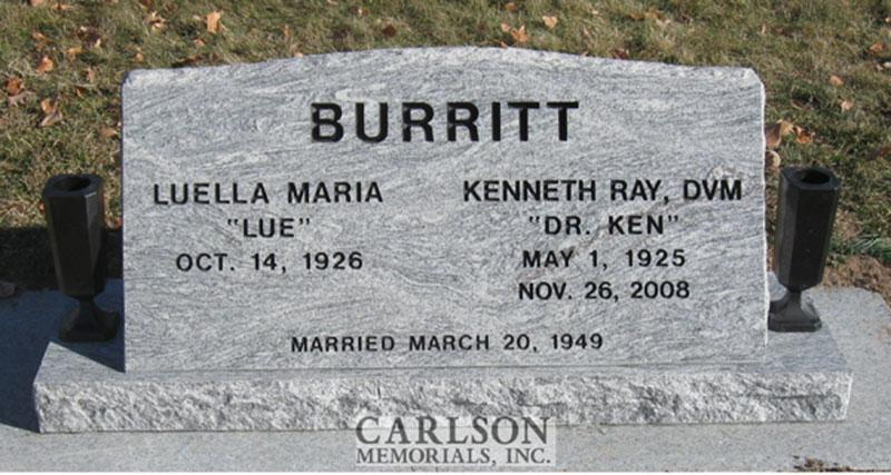 S091: Silver Cloud Custom Designed Slant Headstone for the Burritt Family