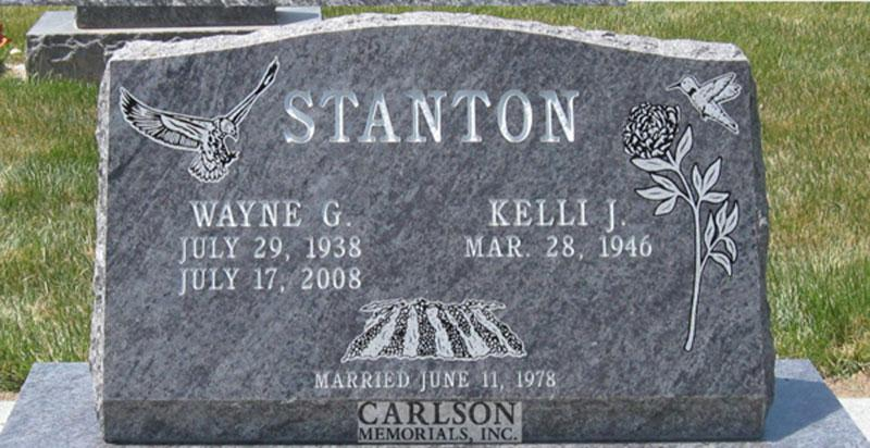 S093: Bahama Blue Custom Designed Slant Headstone for the Stanton Family