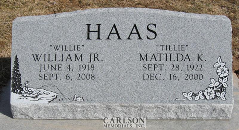 S094: Bluestone Custom Designed Slant Headstone for the Haas Family