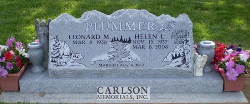 S095: Bluestone Custom Designed Slant Headstone for the Plummer Family