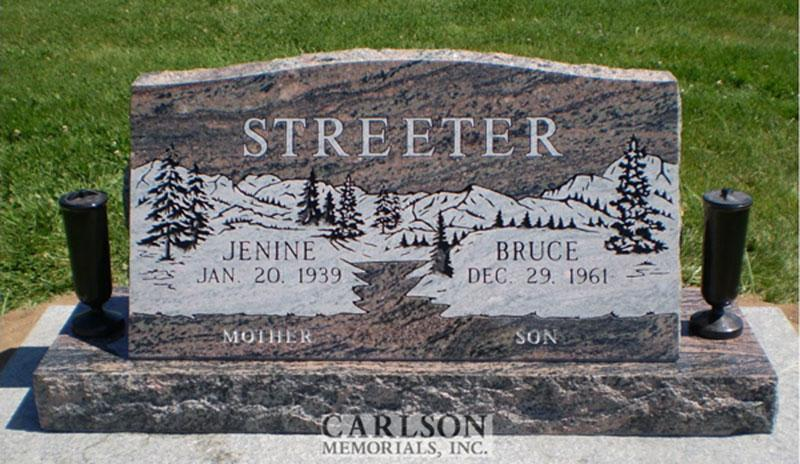 S097: Rainbow Custom Designed Slant Headstone for the Streeter Family