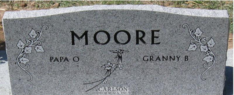 S098A: Back of Sierra White Custom Designed Slant Headstone for the Moore Family