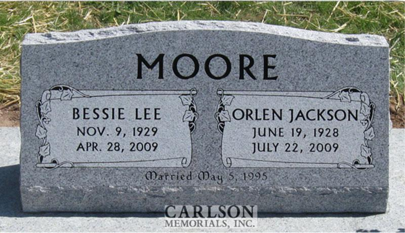 S098: Sierra White Custom Designed Slant Headstone for the Moore Family