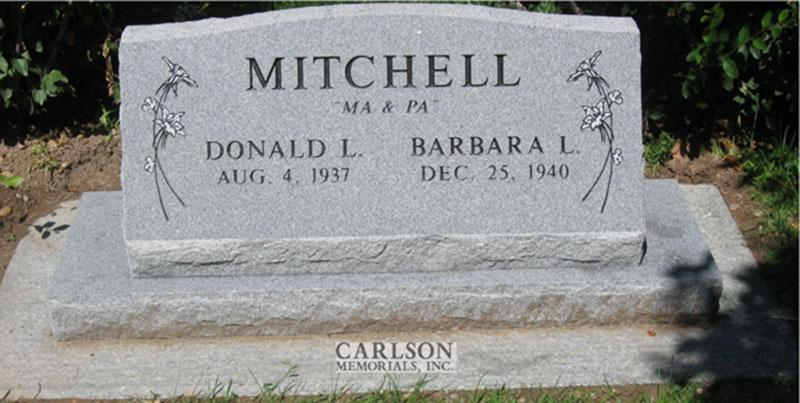S099: Bluestone Custom Designed Slant Headstone for the Mitchell Family