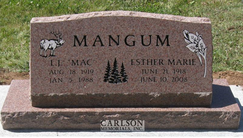 S100: Morning Rose Custom Designed Slant Headstone for the Mangum Family