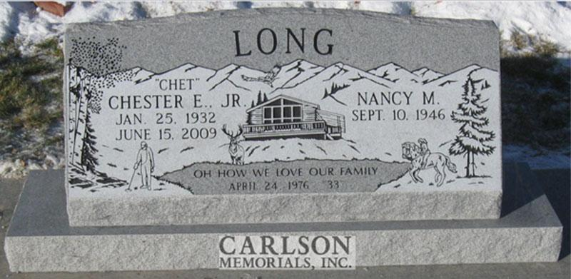 S102: Bluestone Custom Designed Slant Headstone for the Long Family