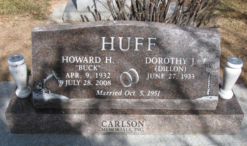 S104: Rushmore Mahogany Custom Designed Slant Headstone for the Huff Family