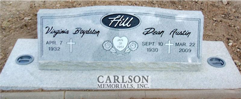 S105: Bluestone Custom Designed Slant Headstone for the Hill Family