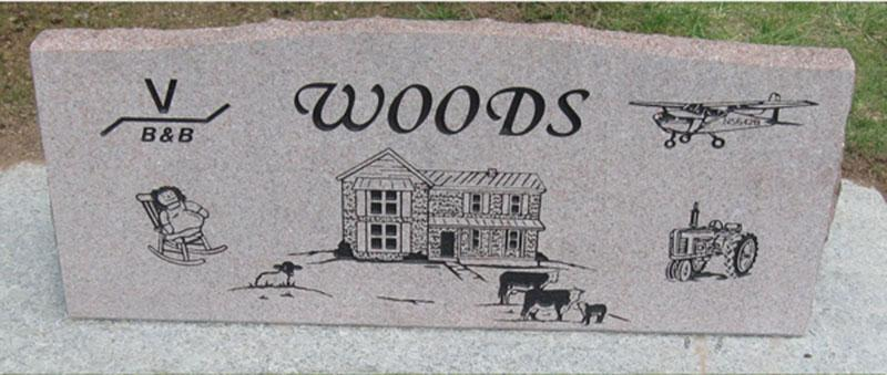 S108A: Back of Morning Rose Custom Designed Slant Headstone for the Woods Family