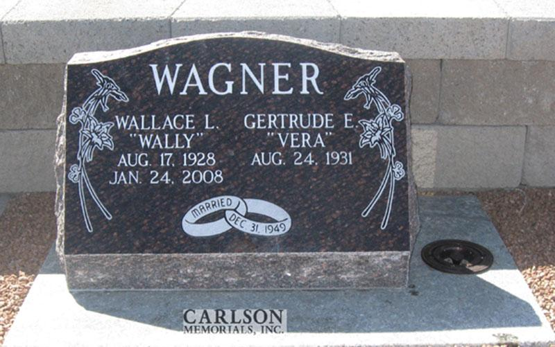S110: Cats Eye Brown Custom Designed Slant Headstone for the Wagner Family