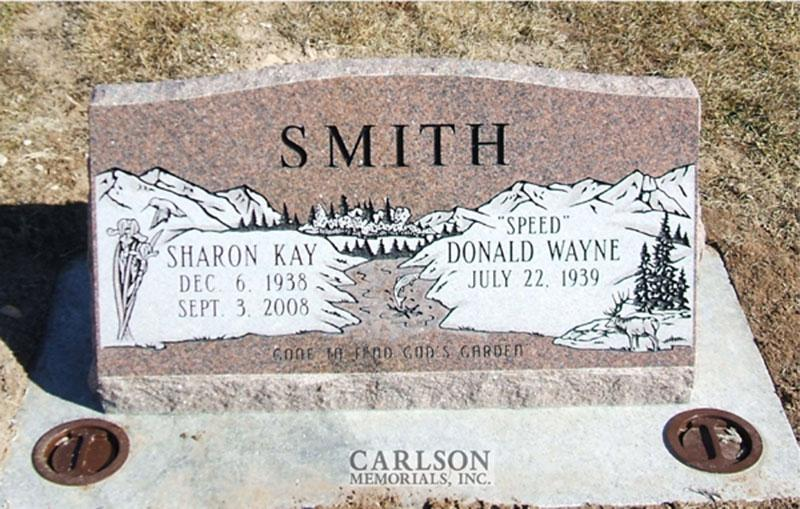 S111: Canyon Rose Slant Headstones in Colorado Custom Designed for the Smith Family