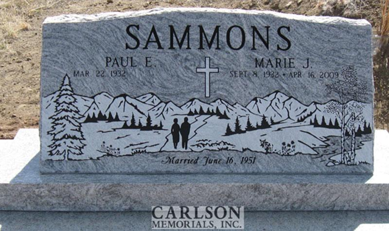 S112: Silver Cloud Custom Designed Slant Headstone for the Sammons Family