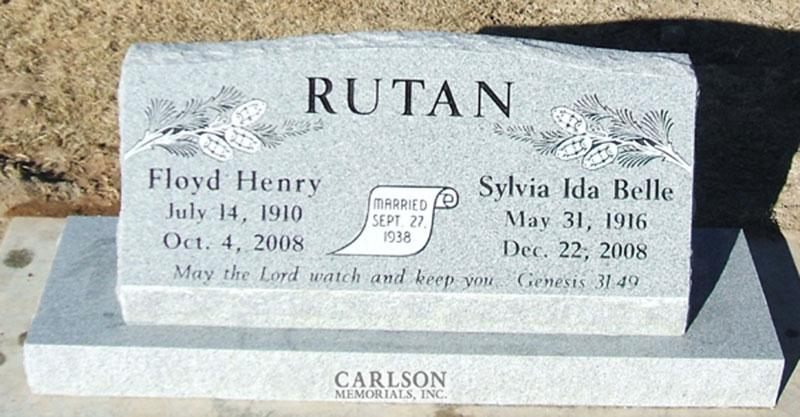 S113: Bluestone Custom Designed Slant Headstone for the Rutan Family