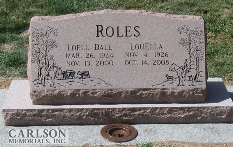 S114: Morning Rose Custom Designed Slant Headstone for the Roles Family