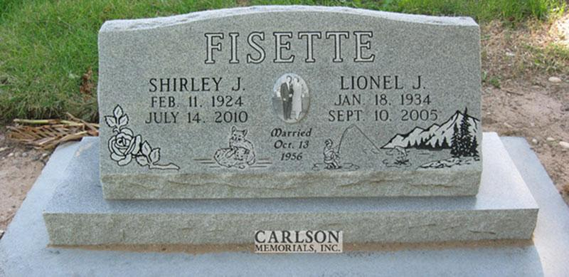 S116: Bluestone Custom Designed Slant Headstone for the Fisette Family