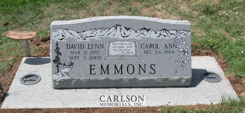 S117: Bluestone Custom Designed Slant Headstone for the Emmons Family