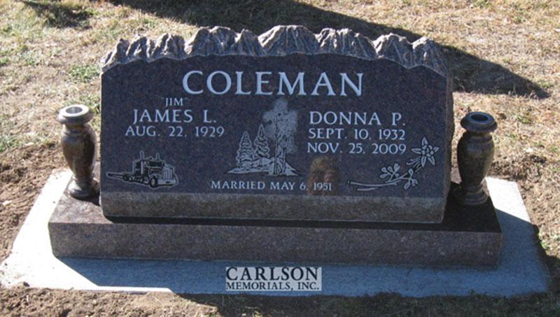 S118: Mahogany Custom Designed Slant Headstone for the Coleman Family