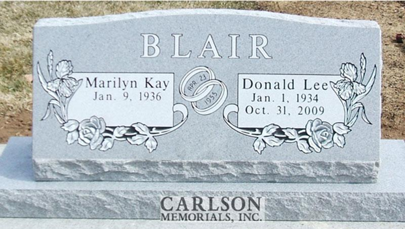 S119: Bluestone Custom Designed Slant Headstone for the Blair Family