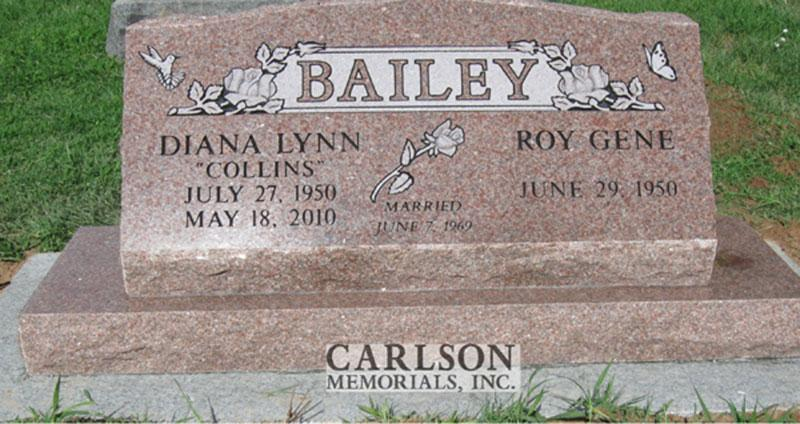 S120: Morning Rose Custom Designed Slant Headstone for the Bailey Family