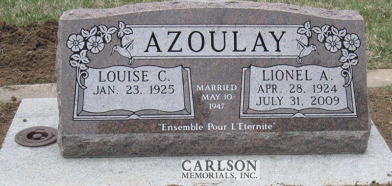 S121: Mahogany Slant Headstones in Colorado Custom Designed for the Azoulay Family