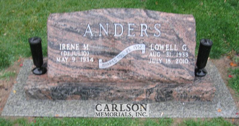 S122: Rainbow Slant Headstones in Colorado Custom Designed for the Anders Family