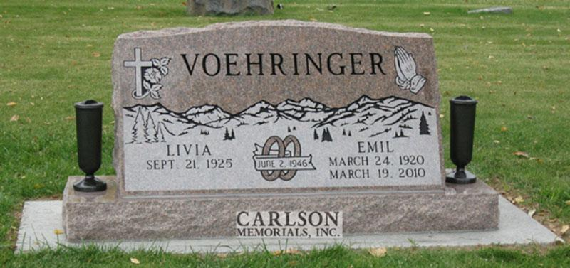 S123: Canyon Rose Slant Headstones in Colorado Custom Designed for the Voehringer Family
