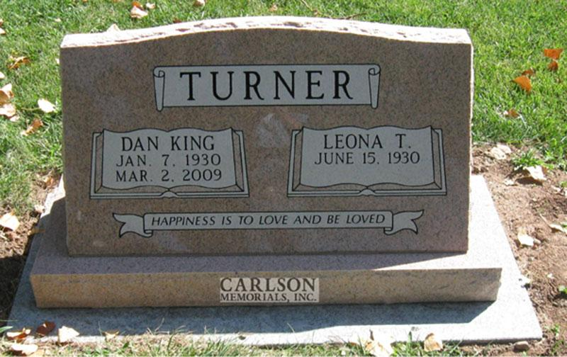 S124: Salisbury Pink Slant Headstones in Colorado Custom Designed for the Turner Family