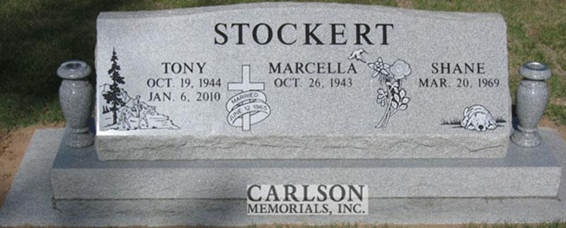 S126: Bluestone Custom Designed Slant Headstone for the Stockert Family
