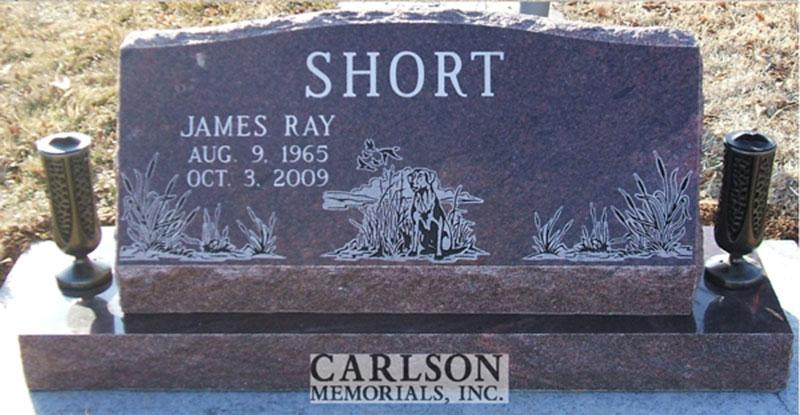 S127: Autumn Brown Custom Designed Slant Headstone for the Short Family