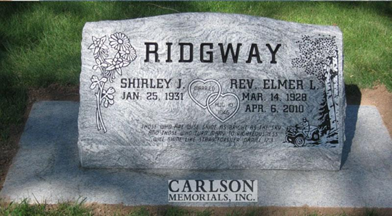 S128: Silver Cloud Custom Designed Slant Headstone for the Ridgway Family