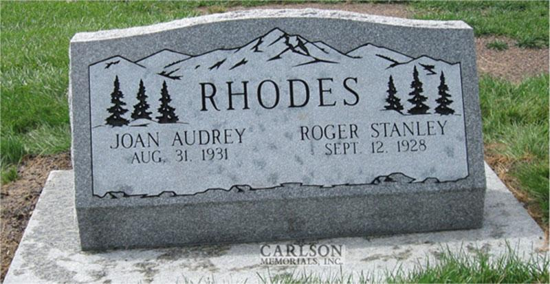 S129: Barre Slant Headstones in Colorado Custom Designed for the Rhodes Family