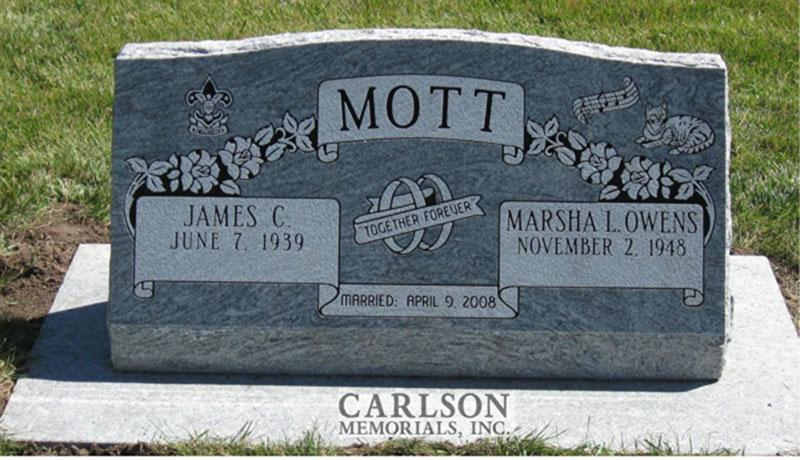 S130: Silver Cloud Slant Headstones in Colorado Custom Designed for the Mott Family
