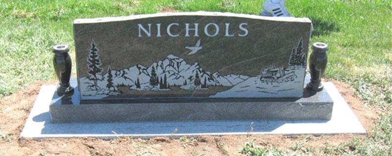S131A: Back of French Creek Custom Designed Slant Headstone for the Nichols Family