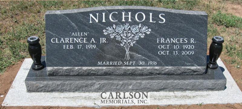 S131: French Creek Custom Designed Slant Headstones in Colorado for the Nichols Family