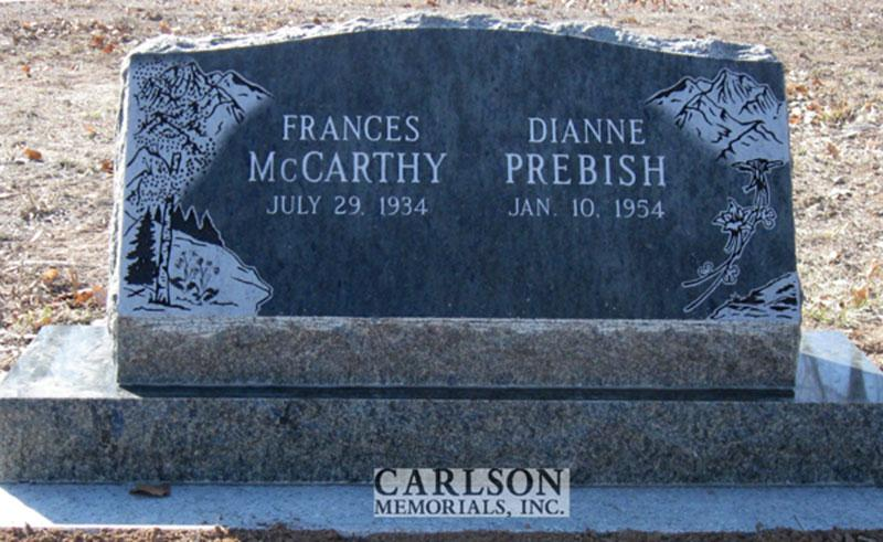 S134: Royal Emerald Custom Designed Slant Headstone for Frances and Dianne