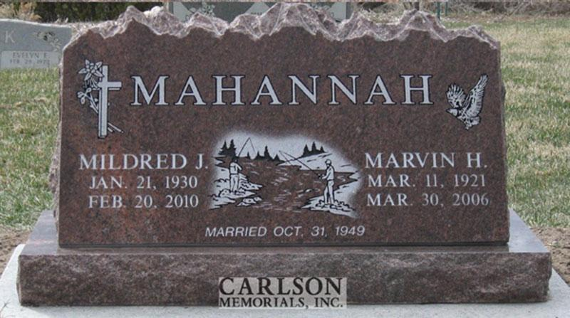S135: Autumn Brown Custom Designed Slant Headstone for the Mahannah Family