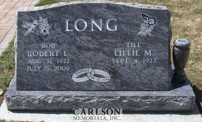 S137: Bahama Blue Slant Headstone Custom Designed for the Long Family