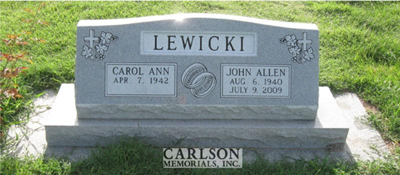 S138: Bluestone Custom Designed Slant Headstone for the Lewicki Family