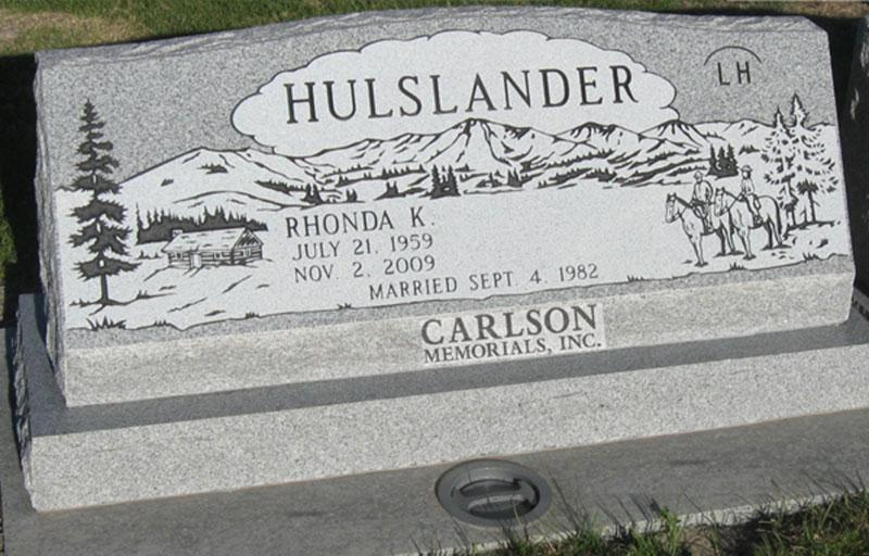 S139: Bluestone Custom Designed Slant Headstone for the Hulslander Family