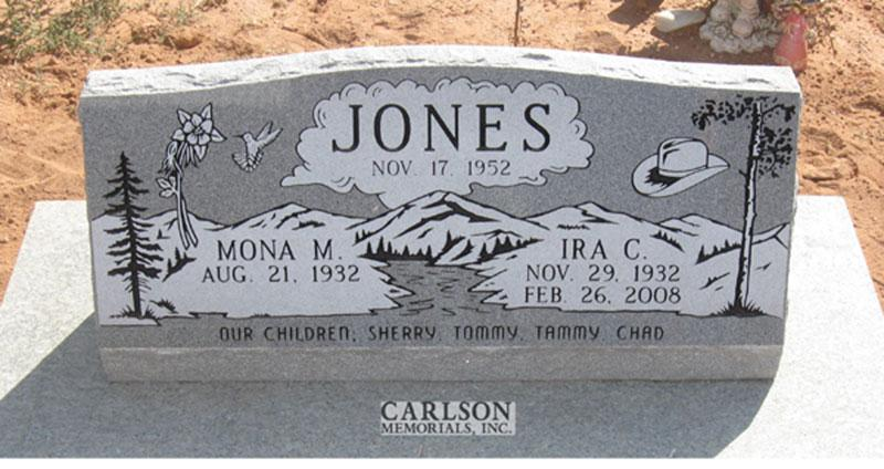S141: Bluestone Custom Designed Slant Headstone for the Jones Family