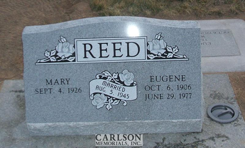S142: Bluestone Slant Headstones in Colorado Custom Designed for the Reed Family