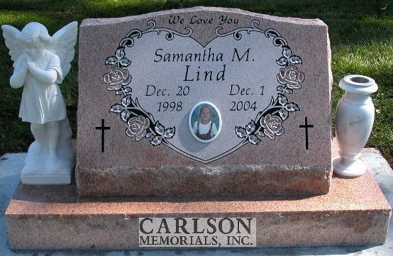 S144: Salisbury Pink Custom Designed Slant Headstone for the Lind Family
