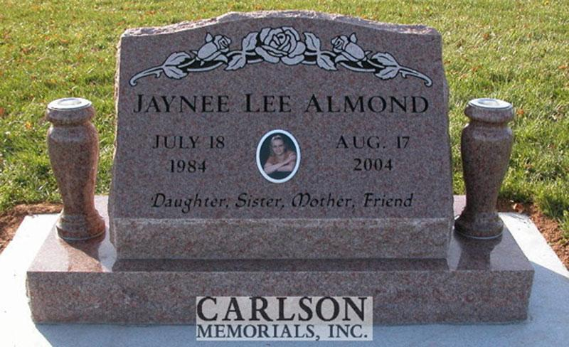 S146: Morning Rose Custom Designed Slant Headstone for the Almond Family