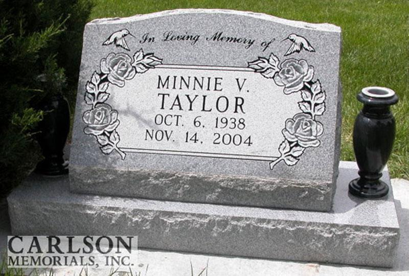 S147: Bluestone Custom Designed Slant Headstone for the Taylor Family