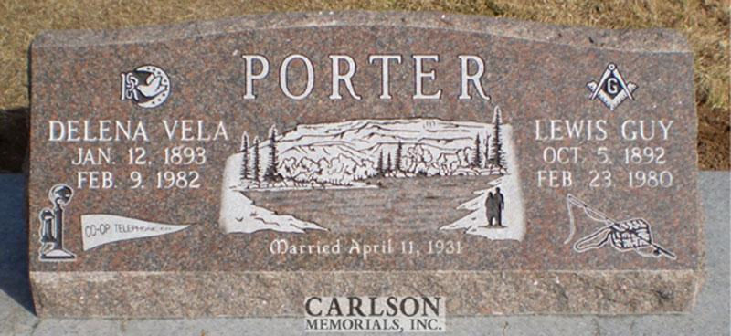 S148: Canadian Mahogany Custom Designed Slant Headstone for the Porter Family