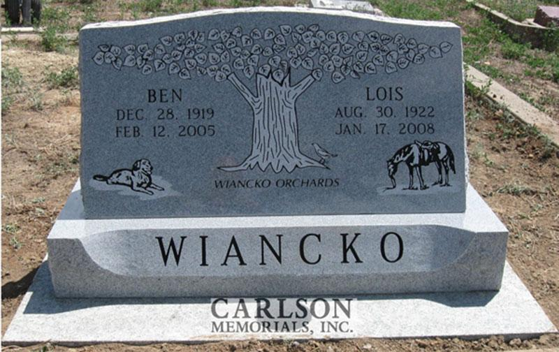 S150: Bluestone Custom Designed Slant Headstone for the Wiancko Family