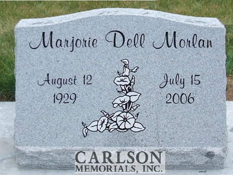 S151: Bluestone Custom Designed Slant Headstone for the Morlan Family
